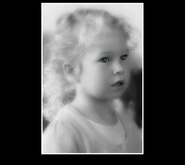 Little, Angel, Girl, Portrait, B&W