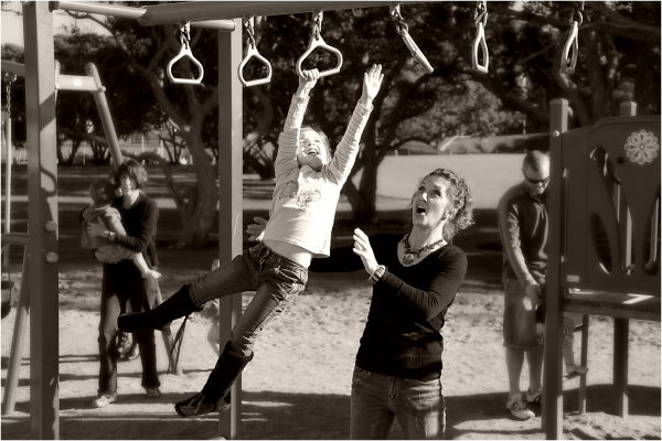 Sepia, Mother, Daughter, Playground, ST, NZ