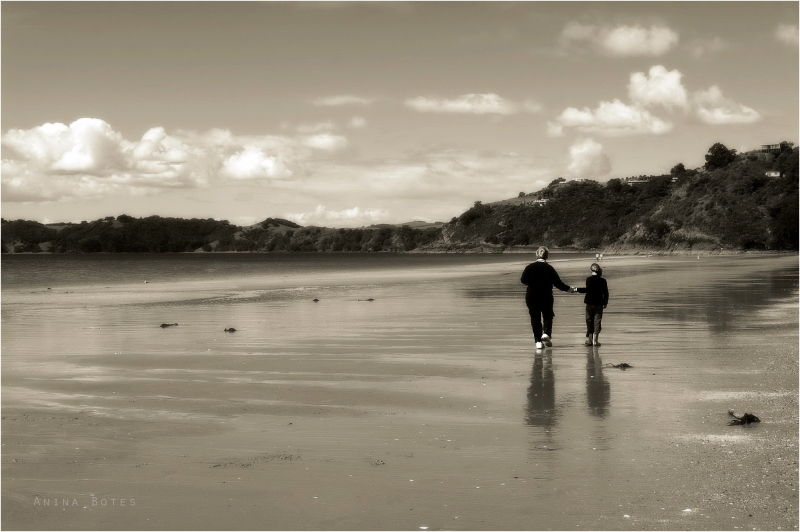 Beach, Hand-in-hand, Reflections, Sepia, NZ