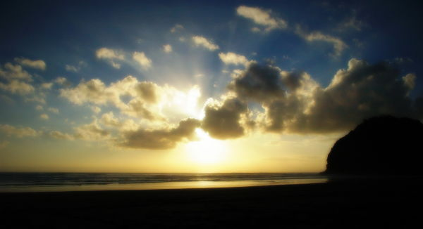NZ, West Coast, Sundown, Beach