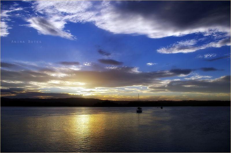 Sunset, yachts, ocean, blue, sky, clouds, NZ