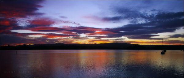 Sunset, Night, Colours, Ocean, NZ