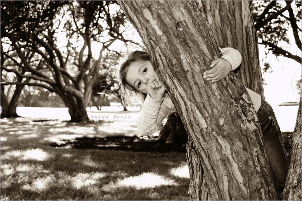 Girl, Child, Tree, Hiding, Sepia, Brown, Eyes, NZ