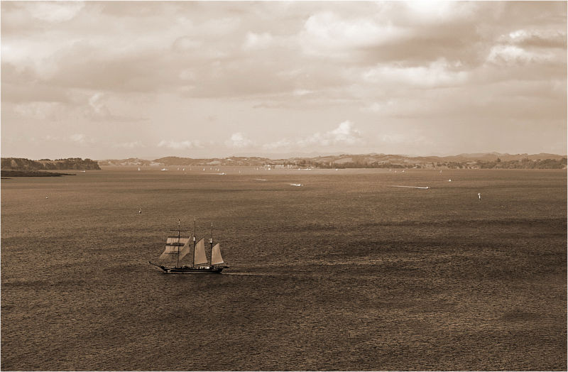 old, sailboat, ship, sepia