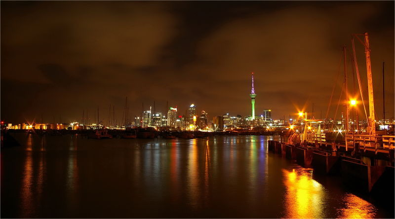 Auckland, Night, Lights, NZ