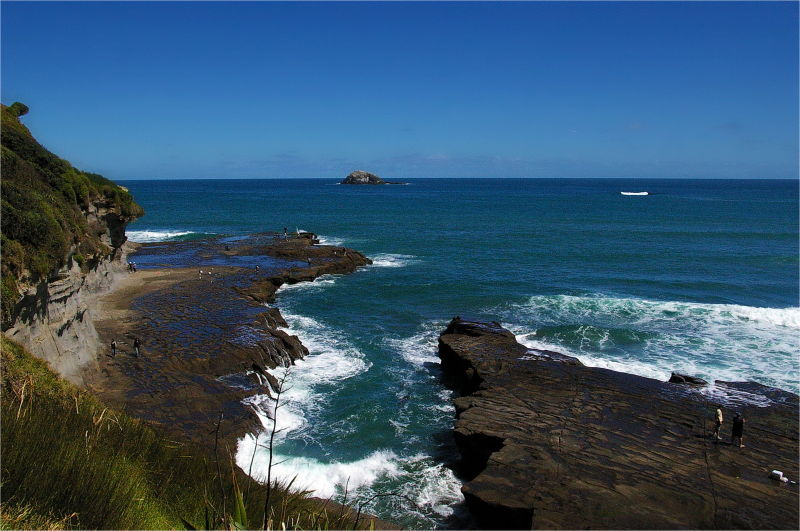 Fishing, Rocks, Blue, Muriwai, NZ