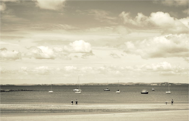 beach, sepia, 50mm