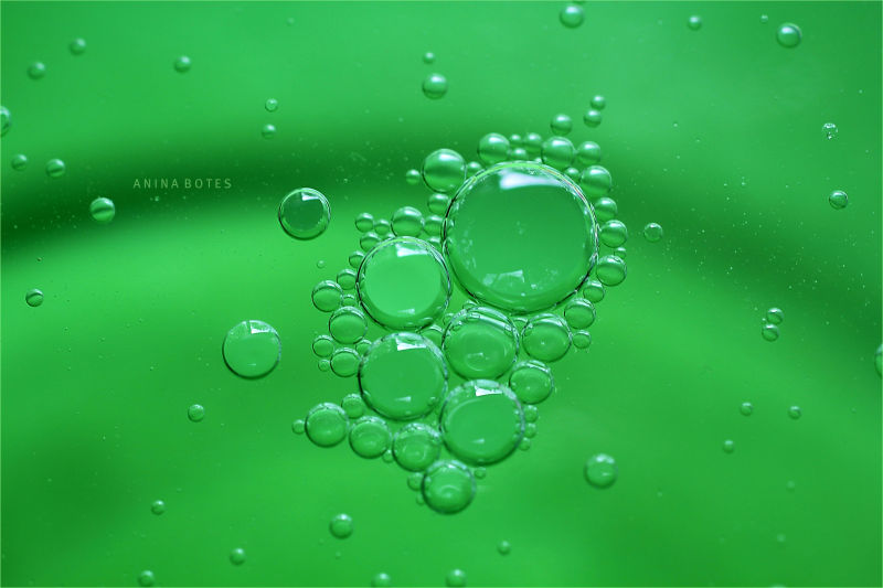 Air, Oil, Bubbles, Water, Green