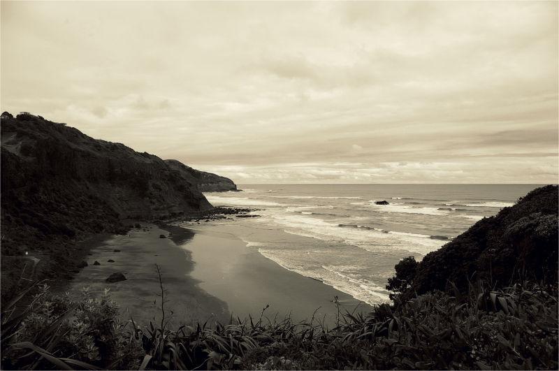 Sepia, beach