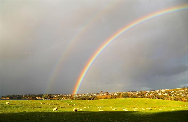 rainbow, landscape, spring, NZ, new-zealand, 6D