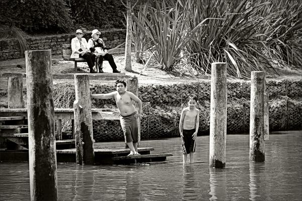 boys, river, swimming, b&w