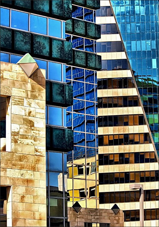 buildings, lines, reflections