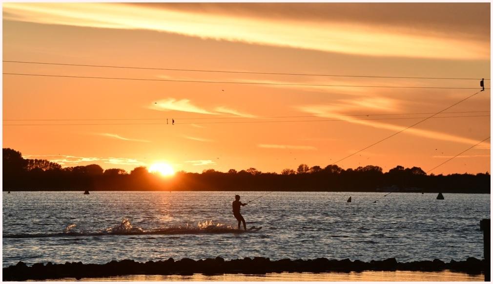 Sunset Waterskier Lan Ha Bay Vietnam