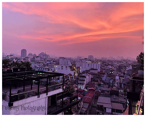 Sky on fire in Hanoi