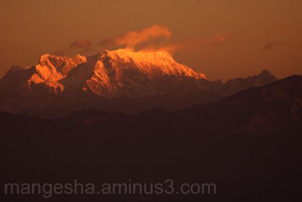 First rays of sun over Kanchenjunga