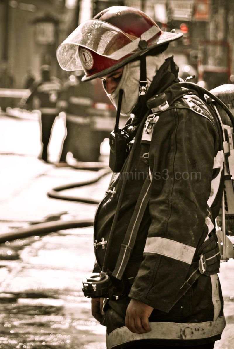 An a tired firefighter after the fight!