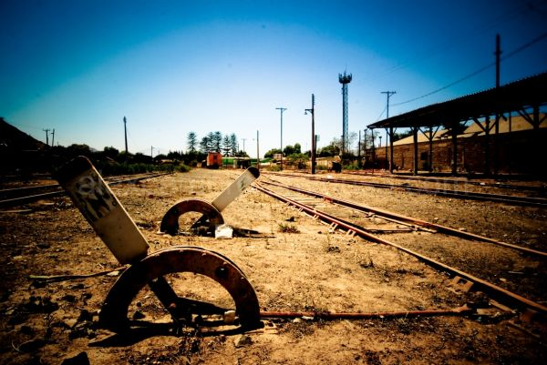 Long view abandoned train station
