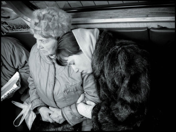 Mother and daughter in Moscow underground