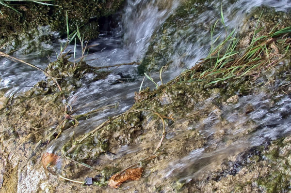 Water dynamicly streaming down hill