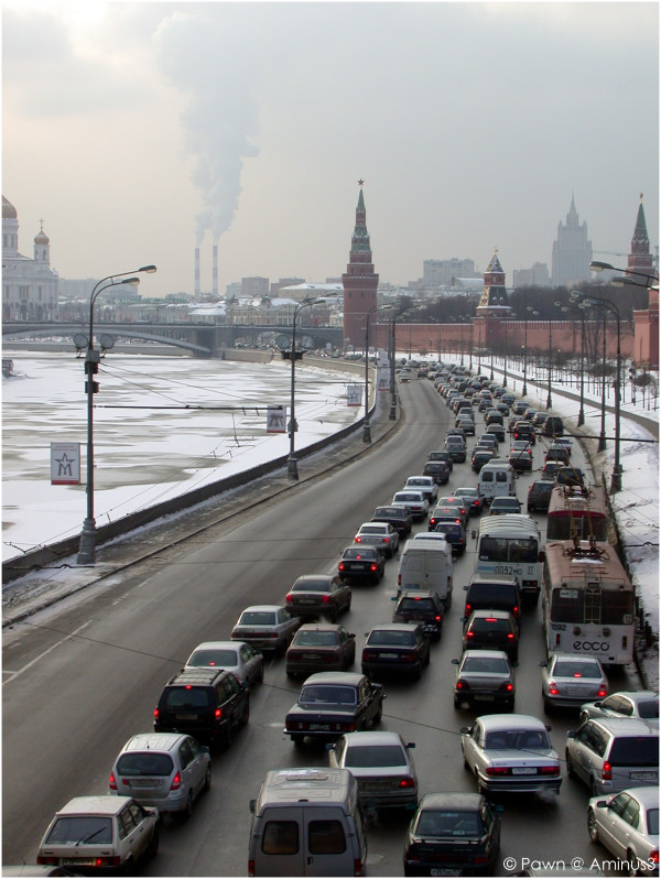 View along the river in Moscow