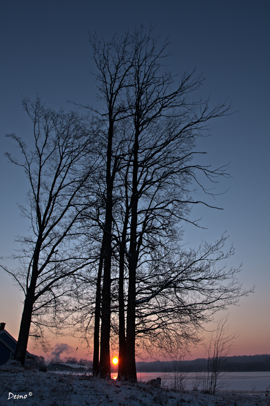 paysage, levé de soleil , soleil Douceur hivernale