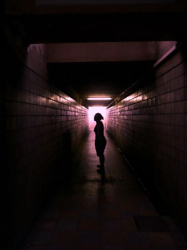 person in a tunel