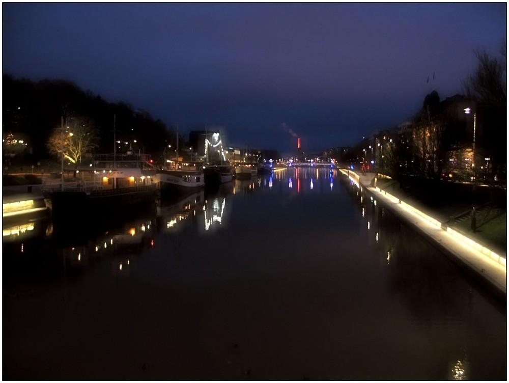 River, night