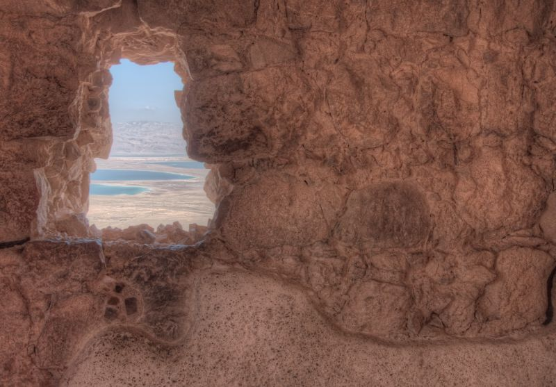 Massada, Window, HDR, Israel, Dead Sea