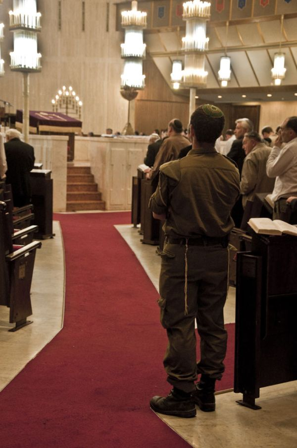 Soldier in the Great Synagogue on Memorial Day