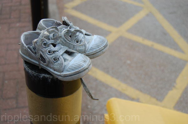silver shoes for the yellow lined road