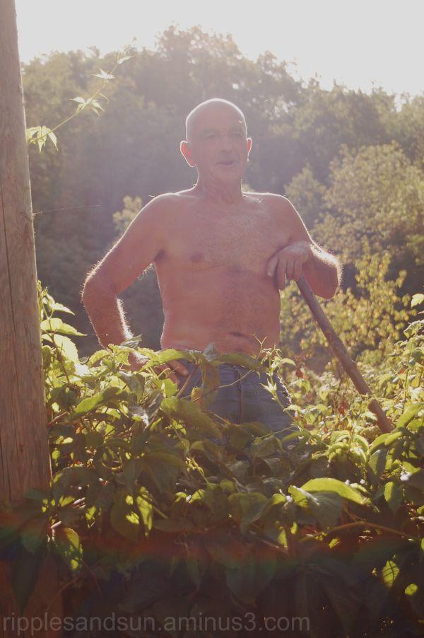 as happy as  a man in his garden