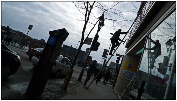 Avenue Mont-Royal E., at rue Berri. March 2009.