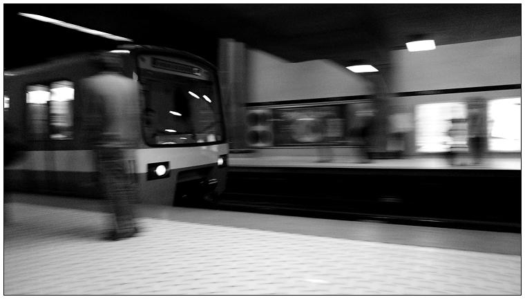 The Metro arrives, Station Peel.