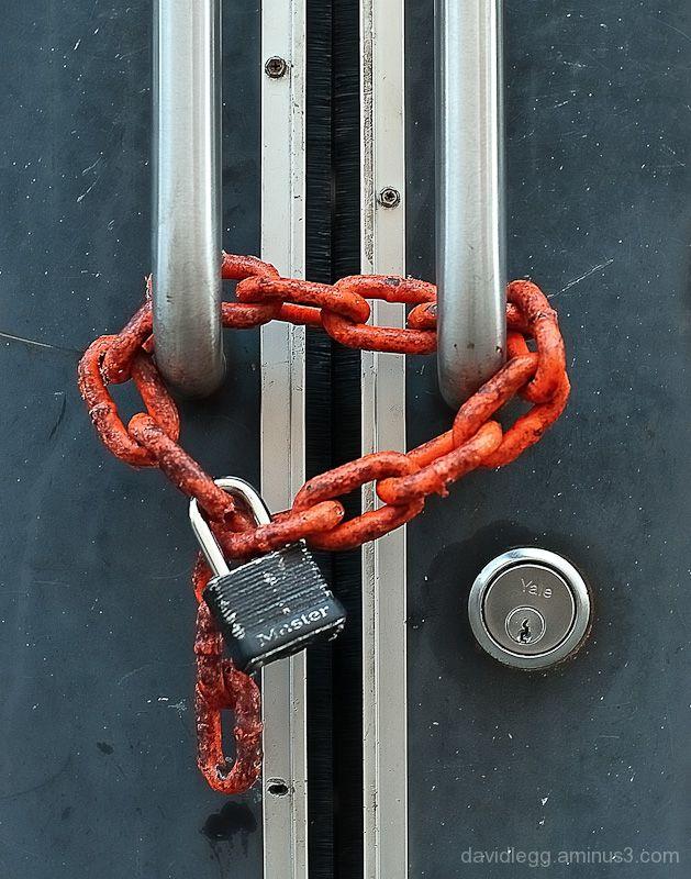 Door with Orange Chain