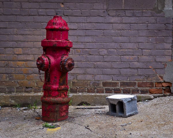 Fire Hydrant and Cement Block