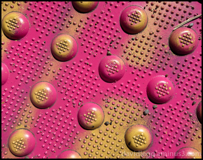 Pavement Marker in Gold and Hot Pink