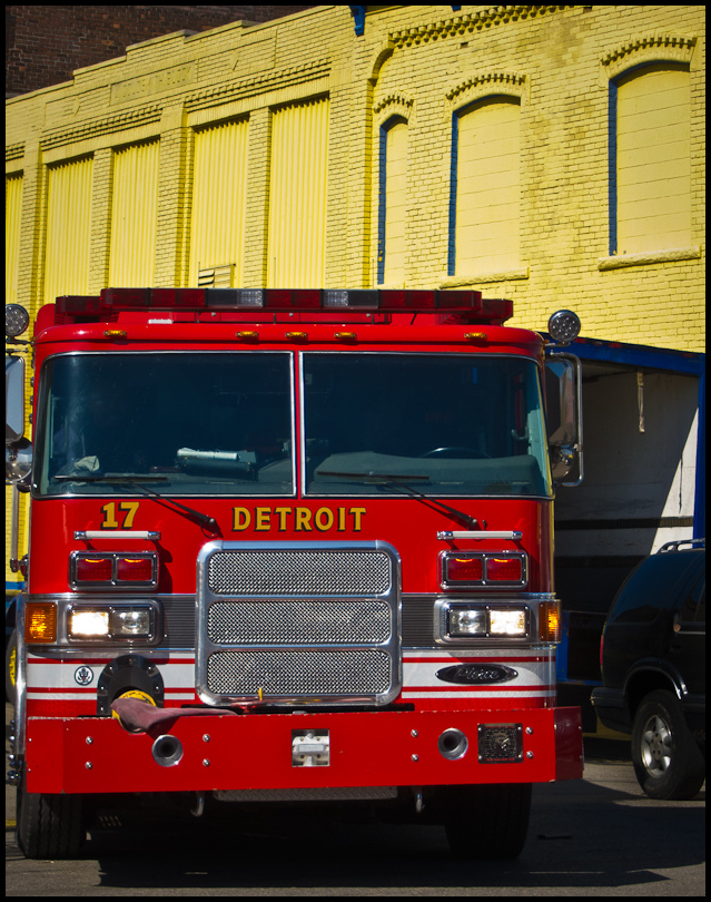 Detroit Fire Engine and Yellow Facade