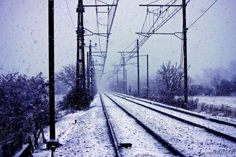 voie ferrées neige train catainer
