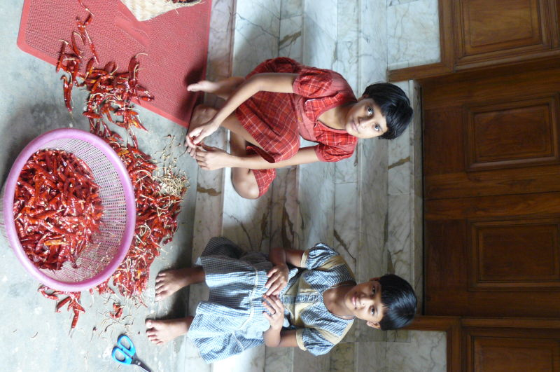 girls sorting chillies, Chittagong