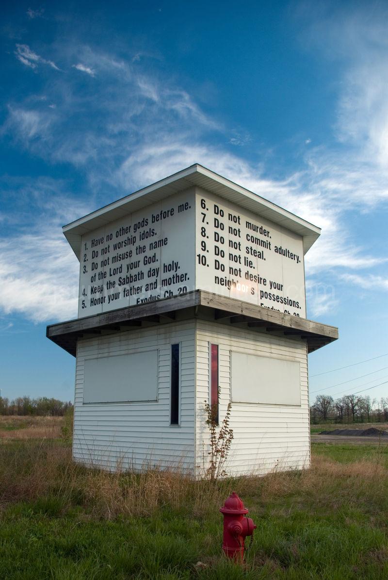Ten Commandments on building near Vincennes Indian