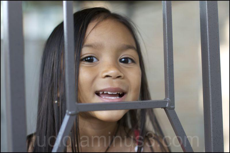 N Smiling in Frame, looking up