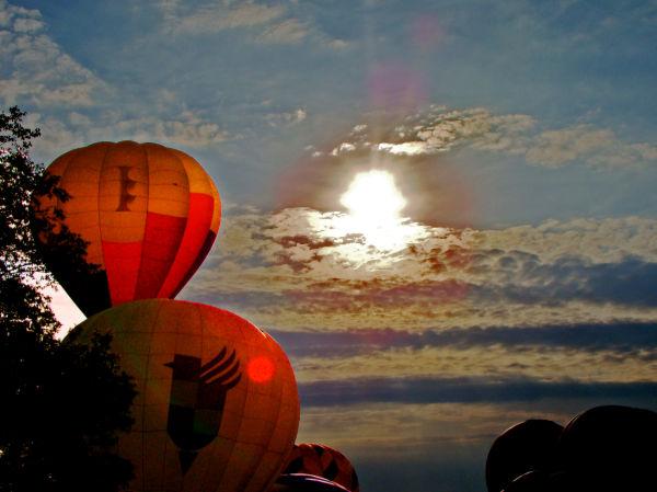 sunset, hot air balloon