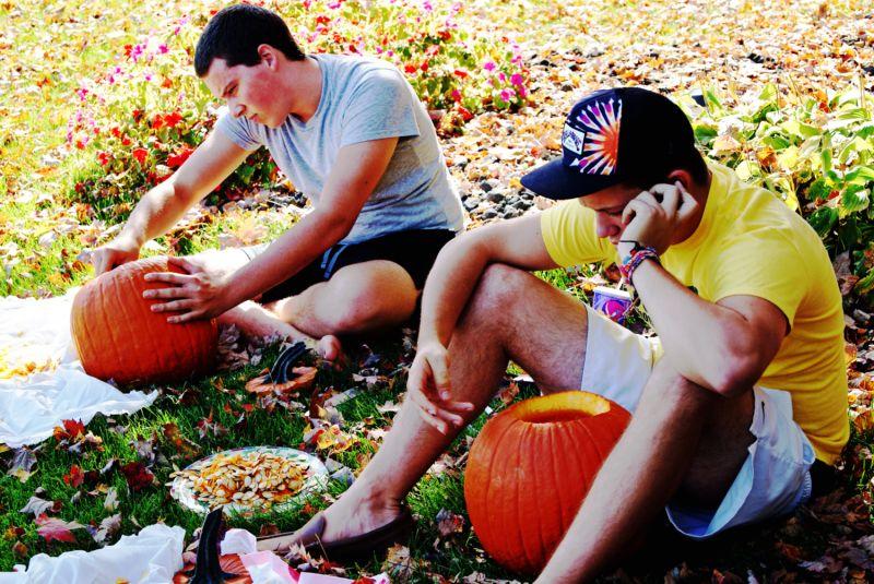 carving pumpkins...