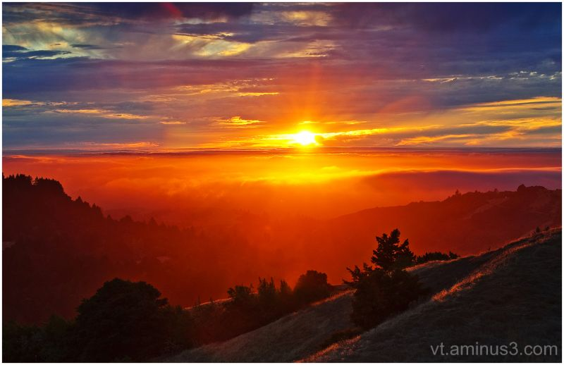 Sunset at Russian Ridge,Skyline Blvd, Palo Alto