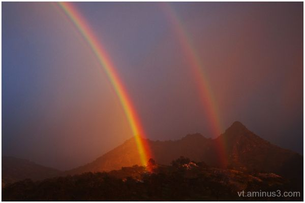 Double Rainbow, Sierra Foothills, near Sequoia NP