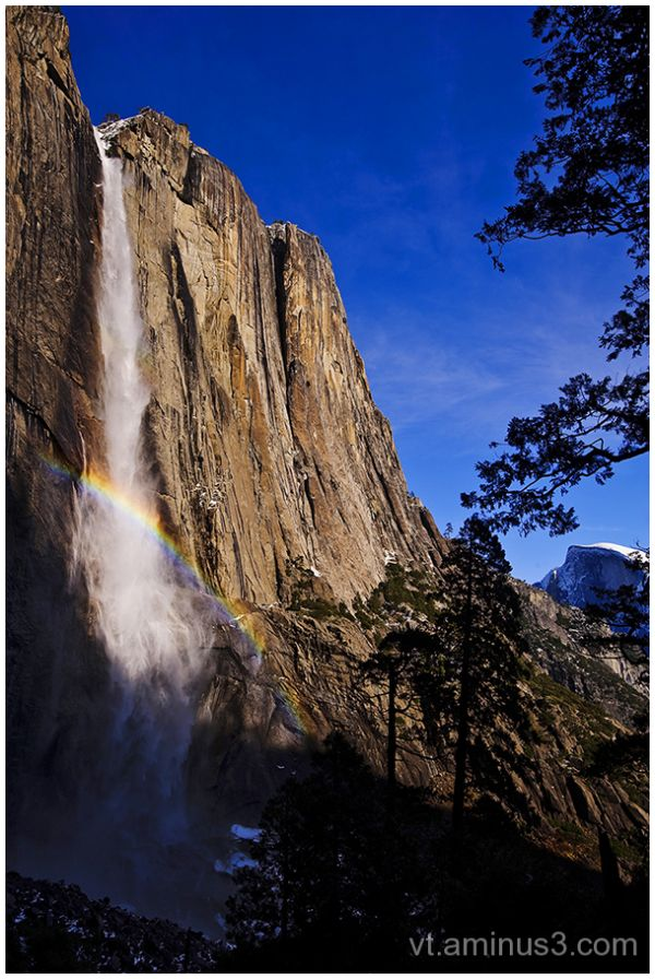 Yosemite Falls and Half Dome with Rainbow, CA
