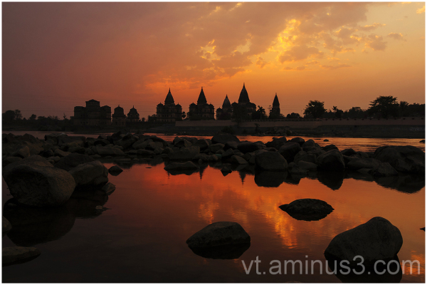 Sunset, Betwa River, Orchha, India