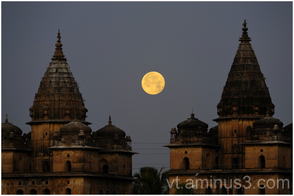 Moonset behind Royal Cenotaphs, Orchha, India