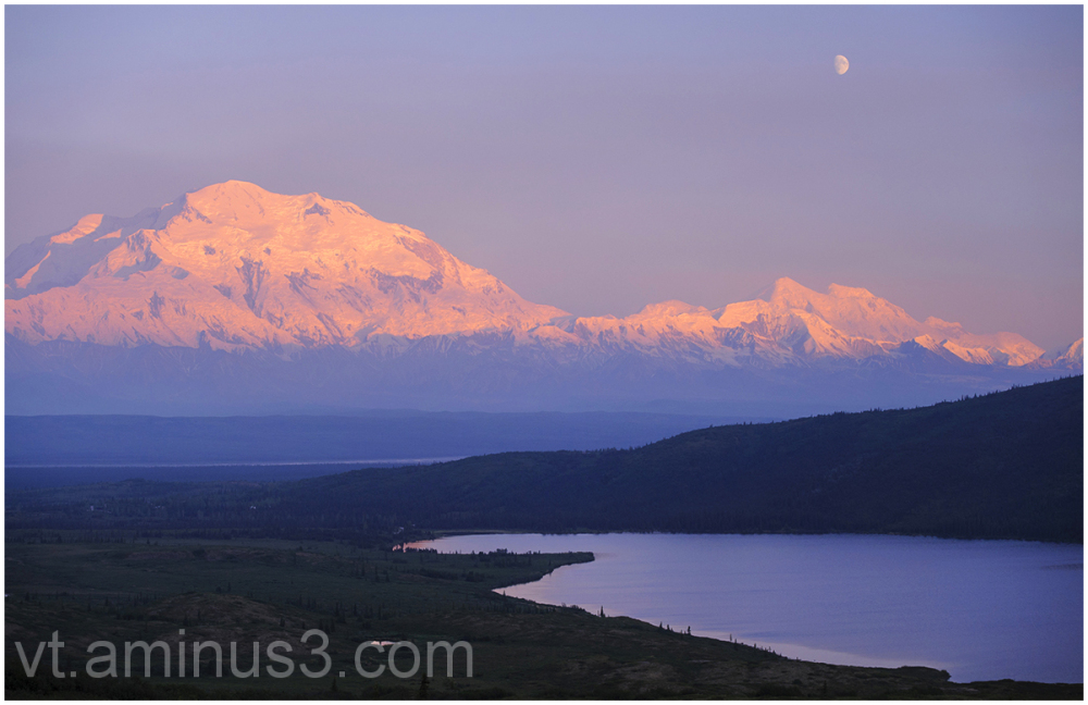 Gibbous Moon, Mount Denali and Wonder Lake, Alaska