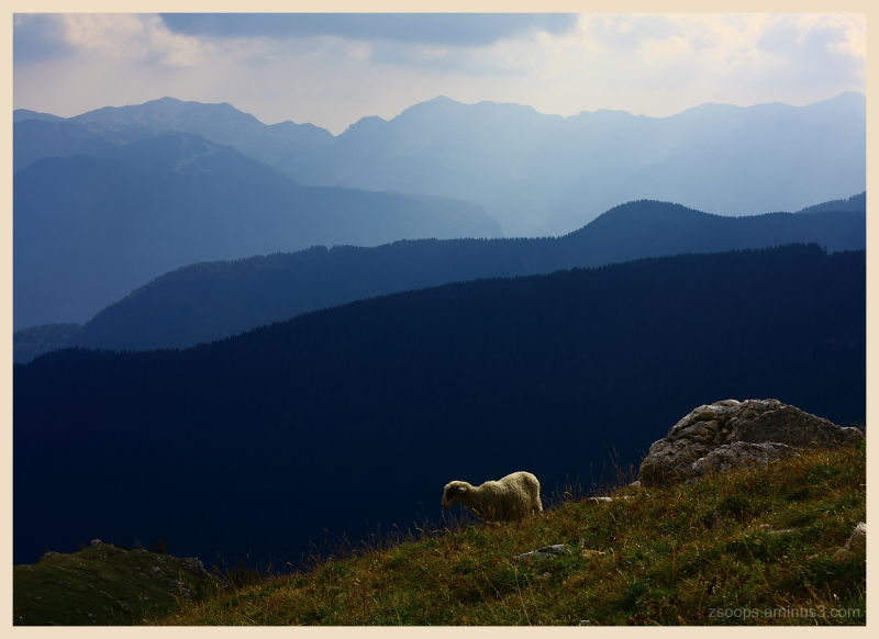 Different levels of mountains in Slovenia